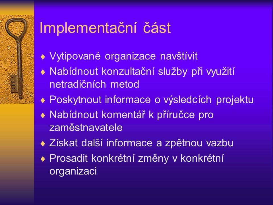 Implementační část  Vytipované organizace navštívit  Nabídnout konzultační služby při využití netradičních metod  Poskytnout informace o výsledcích