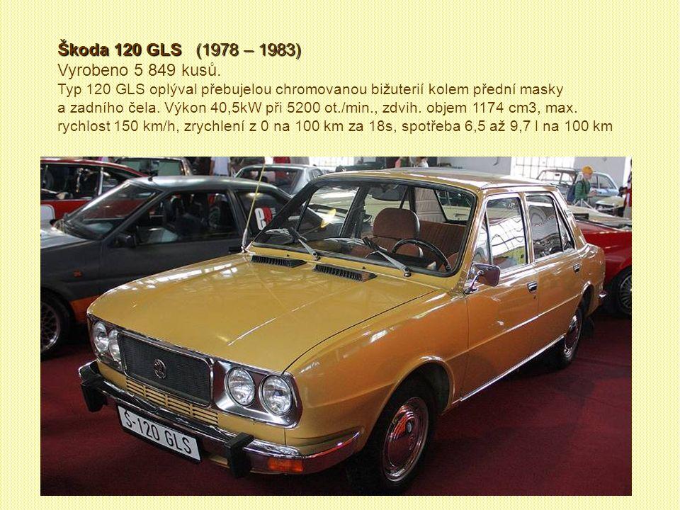 Škoda 130 RS Škoda 130 RS (1977 - 1980) Vyrobeno 62 kusů. Stotřicítky poháněl kapalinou chlazený čtyřválec o objemu 1289 cm3. V průběhu let se podařil