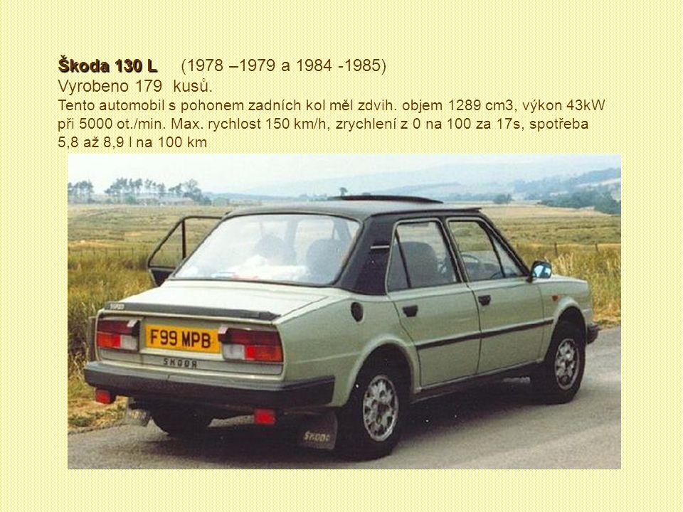 Škoda 100 Škoda 100 (1978 – 1986) Vyrobeno 101 608 kusů. Tato škodovka nebyla zase až tak nová. Dostala jen modernější karoserii, změnil se interiér a