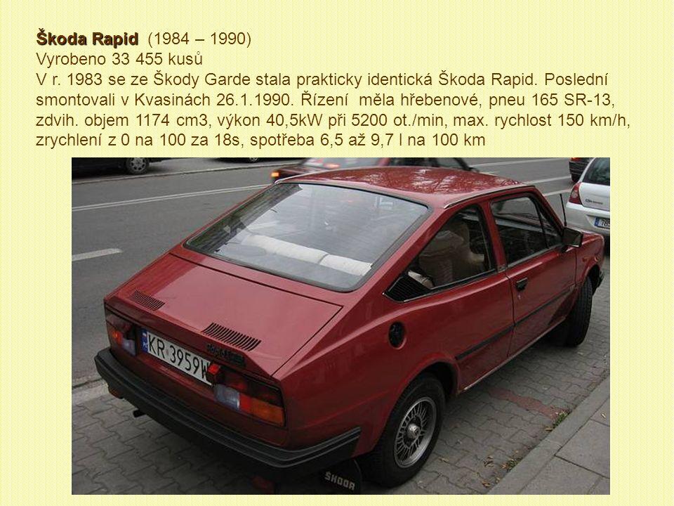 Škoda 120 L Škoda 120 L (1985, 1988-1990) Vyrobeno 1679 kusů Chladící a topnou soustavu tvořil do té doby nevídaný systém potrubí od motoru vzadu ke chladiči vpředu a zpět.
