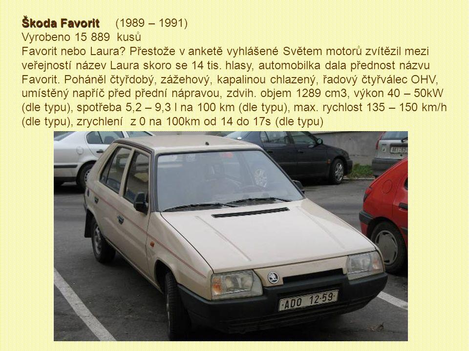 Škoda Rapid Škoda Rapid (1984 – 1990) Vyrobeno 33 455 kusů V r. 1983 se ze Škody Garde stala prakticky identická Škoda Rapid. Poslední smontovali v Kv