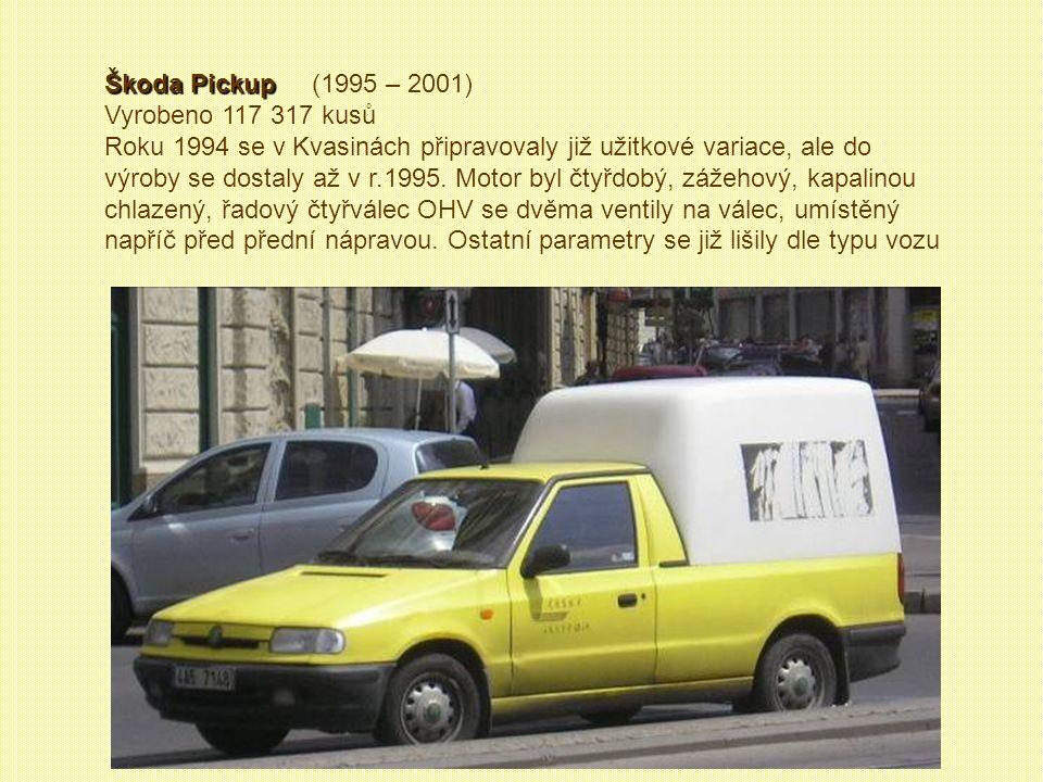 Škoda Felicia Škoda Felicia (1995 – 2001) Vyrobeno 57 905 kusů. I když se Felicie skládala přibližně z poloviny stejných (podstatných) dílů jako Favor