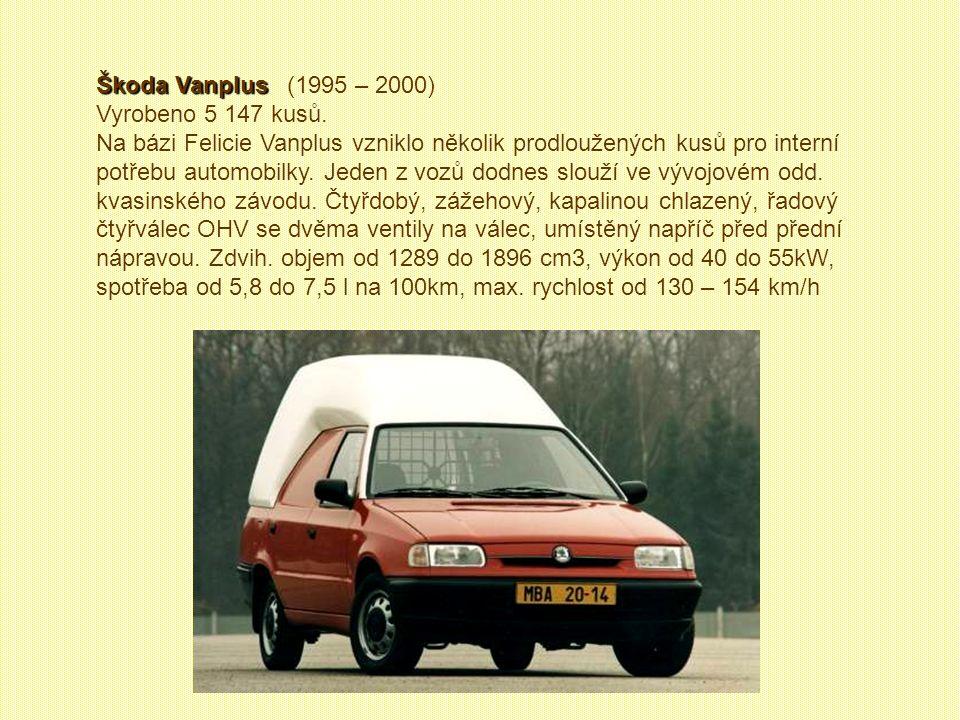 Škoda Pickup VW Caddy Škoda Pickup VW Caddy (1996 – 2000) Vyrobeno 18 952 kusů. VW Caddy byl určen výhradně na export. Tím, že se VW neobával prodávat