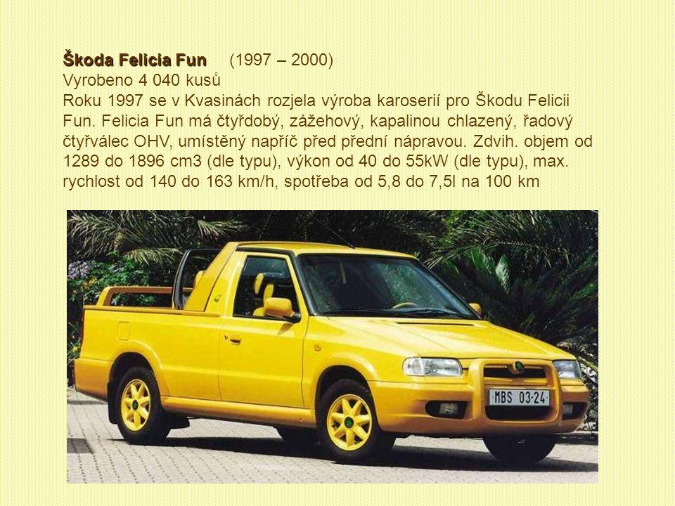 Škoda Vanplus Škoda Vanplus (1995 – 2000) Vyrobeno 5 147 kusů. Na bázi Felicie Vanplus vzniklo několik prodloužených kusů pro interní potřebu automobi