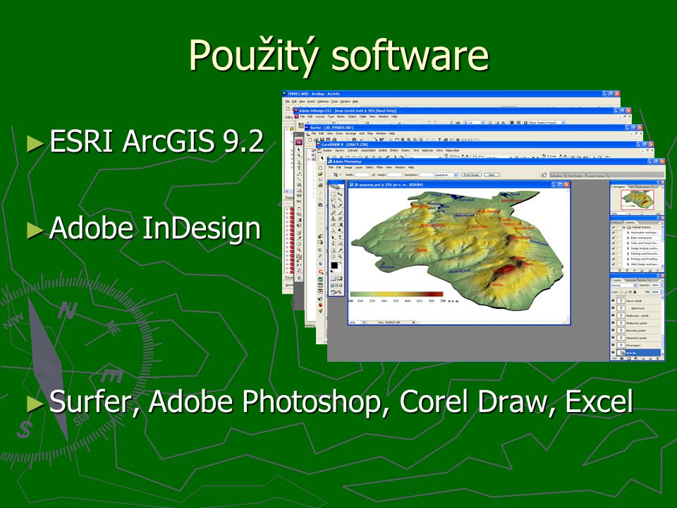 Použitý software ► ESRI ArcGIS 9.2 ► Adobe InDesign ► Surfer, Adobe Photoshop, Corel Draw, Excel