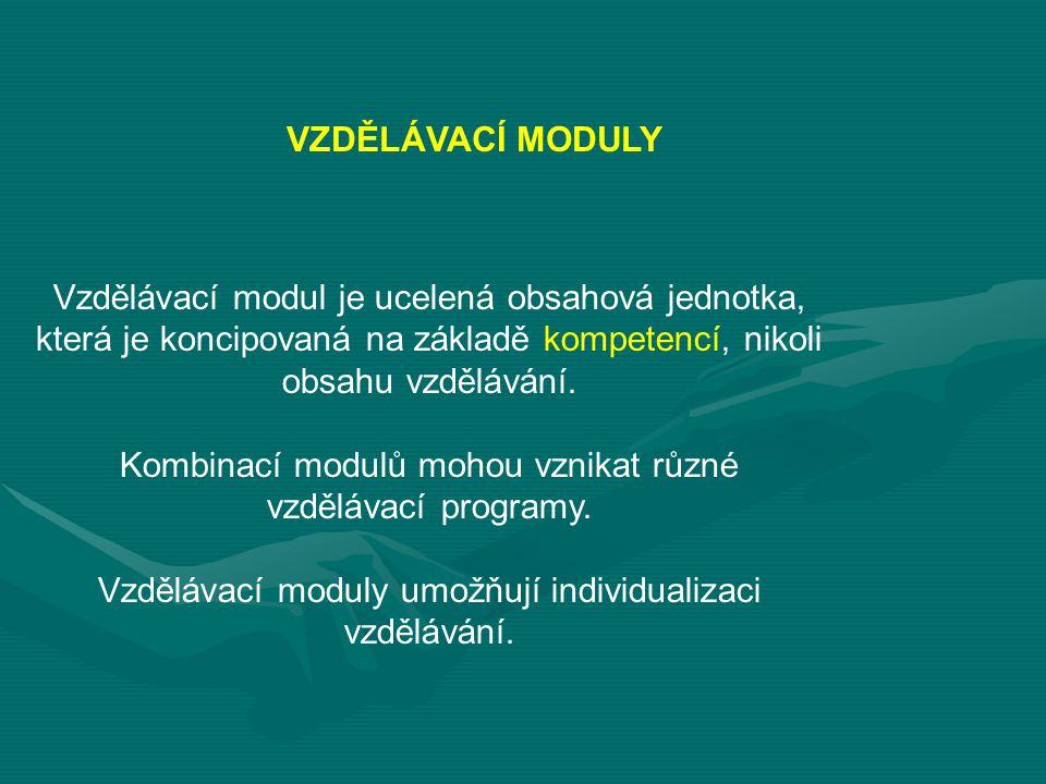 Vzdělávací modul je ucelená obsahová jednotka, která je koncipovaná na základě kompetencí, nikoli obsahu vzdělávání.