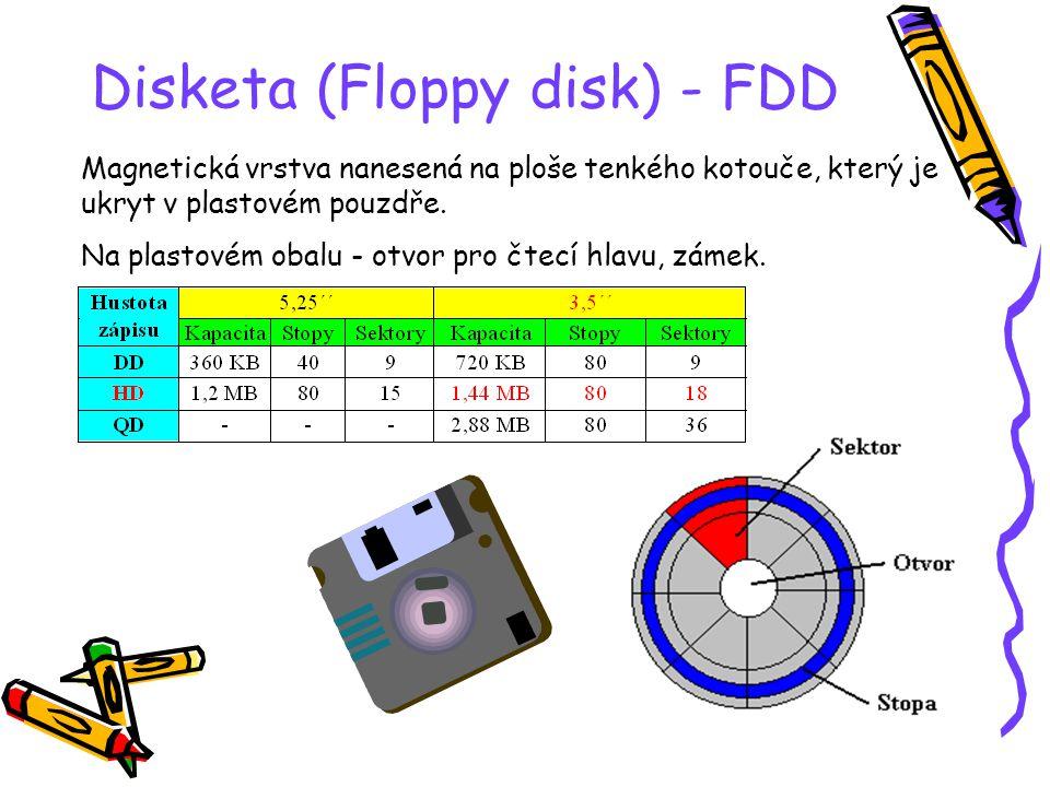 Disketa (Floppy disk) - FDD Magnetická vrstva nanesená na ploše tenkého kotouče, který je ukryt v plastovém pouzdře.