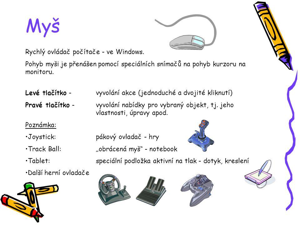 Myš Rychlý ovládač počítače - ve Windows. Pohyb myši je přenášen pomocí speciálních snímačů na pohyb kurzoru na monitoru. Levé tlačítko - vyvolání akc