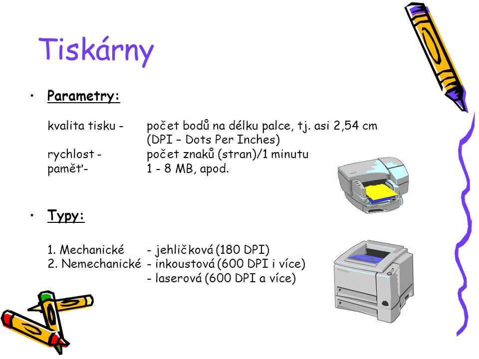 Tiskárny Parametry: kvalita tisku -počet bodů na délku palce, tj.