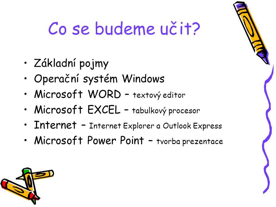 Co se budeme učit? Základní pojmy Operační systém Windows Microsoft WORD – textový editor Microsoft EXCEL – tabulkový procesor Internet – Internet Exp