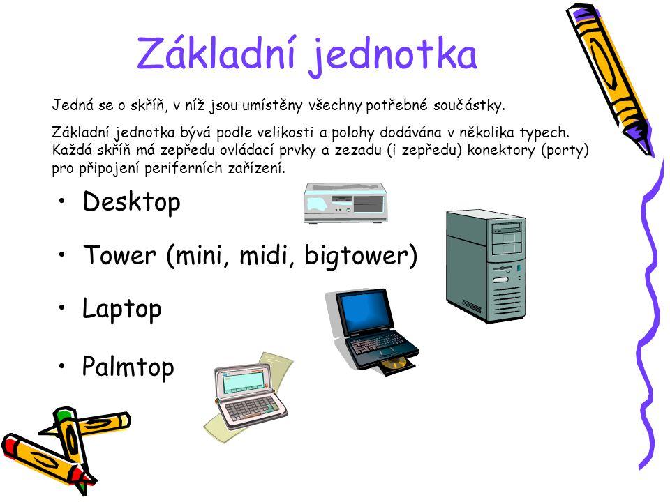 Základní jednotka Desktop Tower (mini, midi, bigtower) Laptop Palmtop Jedná se o skříň, v níž jsou umístěny všechny potřebné součástky. Základní jedno
