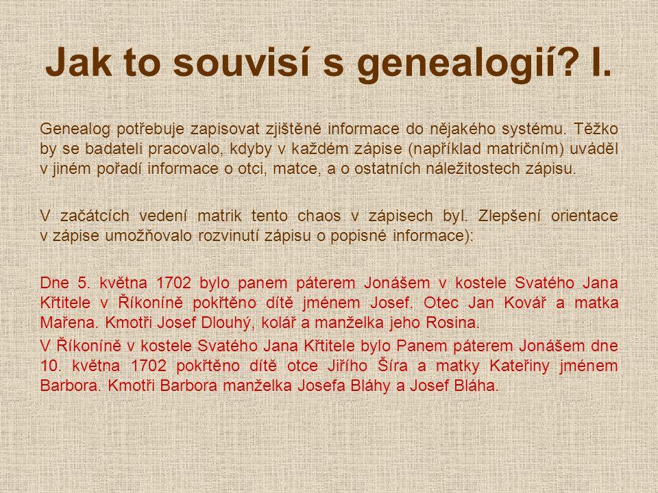 Jak to souvisí s genealogií. I.