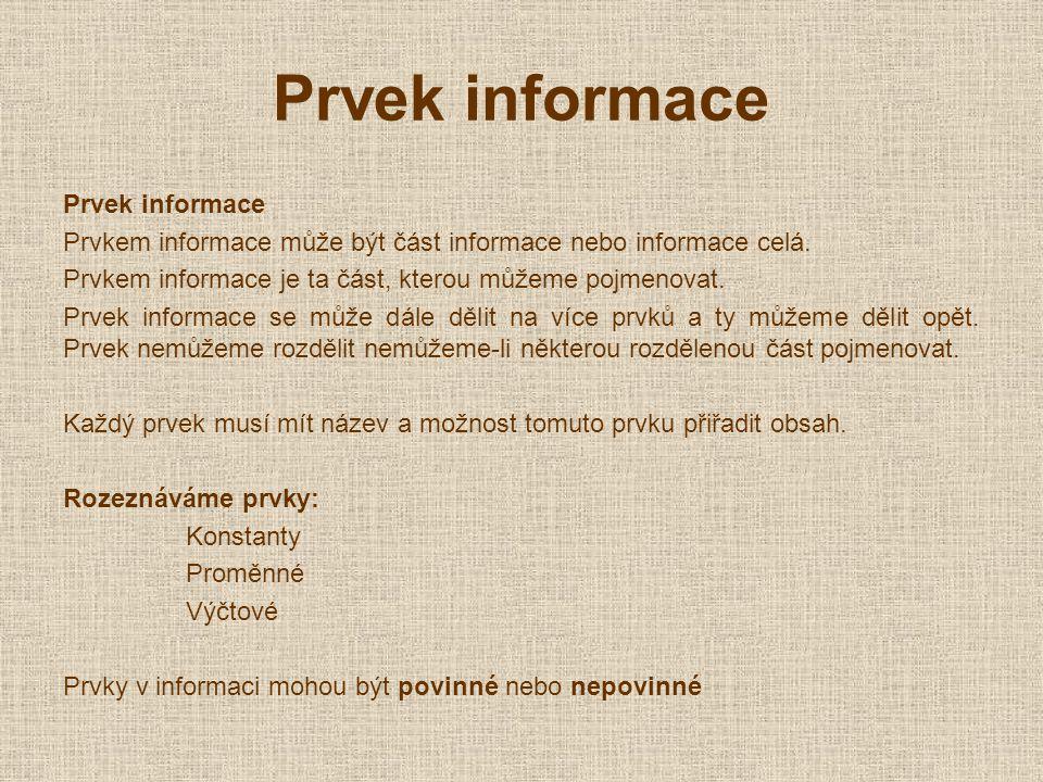 Prvek informace Prvkem informace může být část informace nebo informace celá.