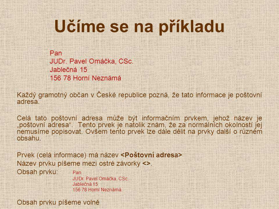 Učíme se na příkladu Pan JUDr. Pavel Omáčka, CSc.