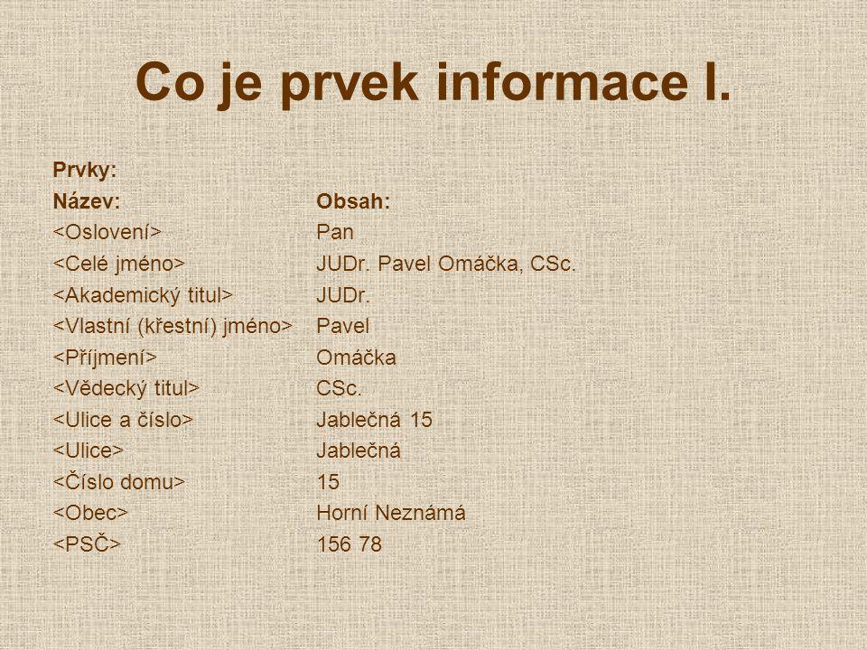 Co je prvek informace I. Prvky: Název:Obsah: Pan JUDr.