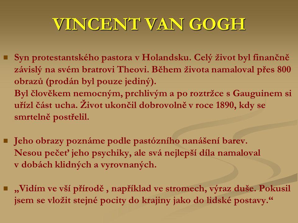 VINCENT VAN GOGH Syn protestantského pastora v Holandsku. Celý život byl finančně závislý na svém bratrovi Theovi. Během života namaloval přes 800 obr