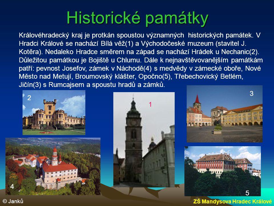 Historické památky Královéhradecký kraj je protkán spoustou významných historických památek. V Hradci Králové se nachází Bílá věž(1) a Východočeské mu
