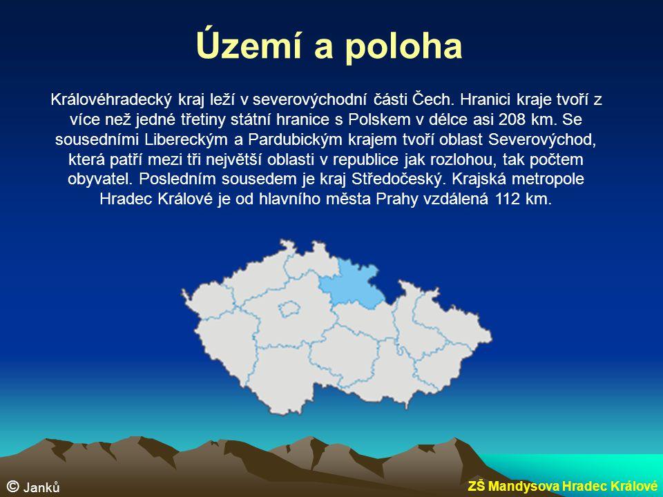 Povrch Na severu a severovýchodě se rozkládají pohoří Krkonoše a Orlické hory, které na jihu a jihozápadě přecházejí do úrodné Polabské nížiny.