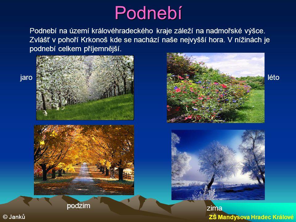 Podnebí Podnebí na území královéhradeckého kraje záleží na nadmořské výšce. Zvlášť v pohoří Krkonoš kde se nachází naše nejvyšší hora. V nížinách je p