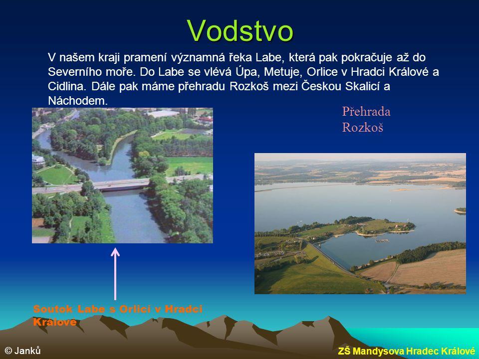 Vodstvo V našem kraji pramení významná řeka Labe, která pak pokračuje až do Severního moře. Do Labe se vlévá Úpa, Metuje, Orlice v Hradci Králové a Ci
