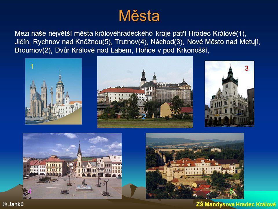 Města Mezi naše největší města královéhradeckého kraje patří Hradec Králové(1), Jičín, Rychnov nad Kněžnou(5), Trutnov(4), Náchod(3), Nové Město nad M
