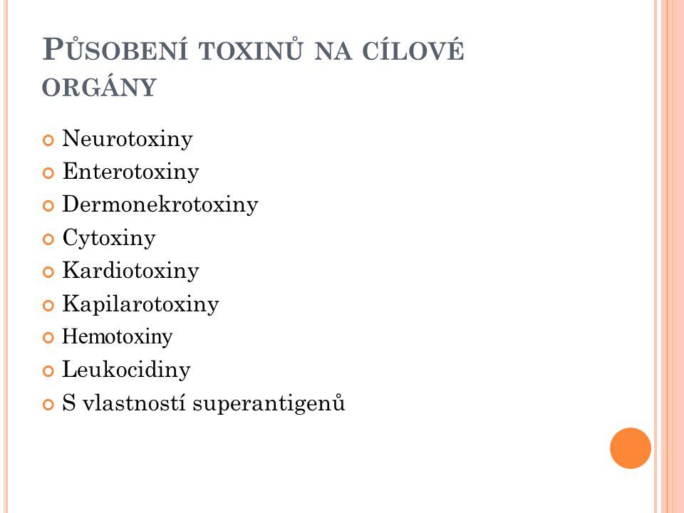 B OTULOTOXIN A TETANOSPASMIN Neurotoxiny, zvláštní skupina intracelulárně působících toxinů BOTULOTOXIN → polypeptidový řetězec, molekulová hmotnost 150 000  Těžký řetězec - vazebná část  Lehký řetězec - aktivní část  Farmakologické účinky = jen celá molekula  Požit preformovaný v potravě → střevo →krevní oběh →neuromuskulární ploténky →presynaptický blok uvolňování acetylcholinu → ochabnutí svalů