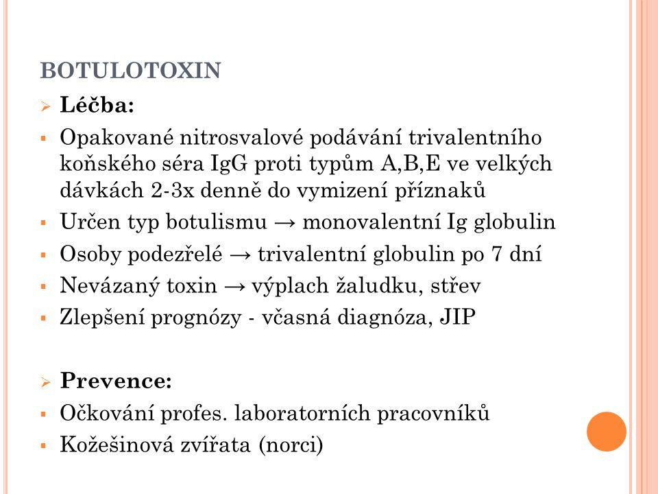 BOTULOTOXIN  Léčba:  Opakované nitrosvalové podávání trivalentního koňského séra IgG proti typům A,B,E ve velkých dávkách 2-3x denně do vymizení pří