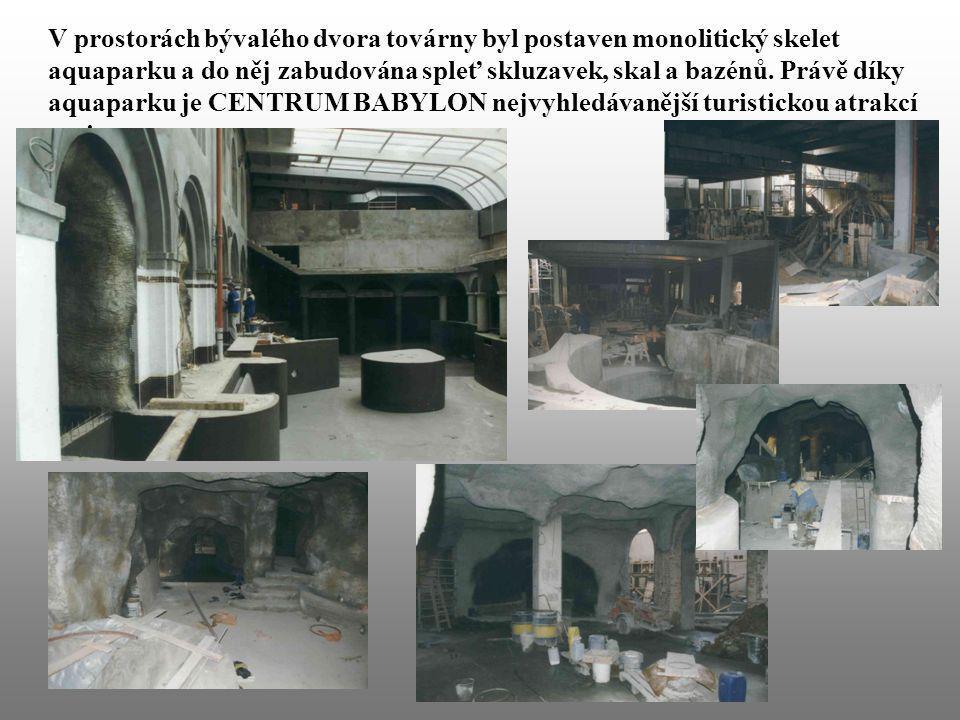 V prostorách bývalého dvora továrny byl postaven monolitický skelet aquaparku a do něj zabudována spleť skluzavek, skal a bazénů. Právě díky aquaparku