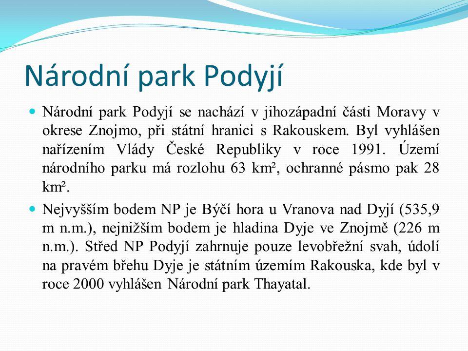 Národní park Podyjí Národní park Podyjí se nachází v jihozápadní části Moravy v okrese Znojmo, při státní hranici s Rakouskem. Byl vyhlášen nařízením
