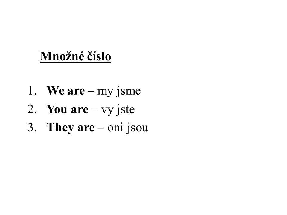 Množné číslo 1. We are – my jsme 2. You are – vy jste 3.They are – oni jsou