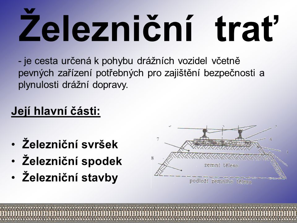 Železniční trať Její hlavní části: Železniční svršek Železniční spodek Železniční stavby - je cesta určená k pohybu drážních vozidel včetně pevných zařízení potřebných pro zajištění bezpečnosti a plynulosti drážní dopravy.