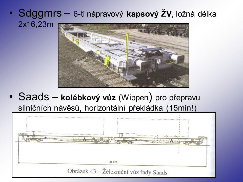 Sdggmrs – 6-ti nápravový kapsový ŽV, ložná délka 2x16,23m Saads – kolébkový vůz (Wippen ) pro přepravu silničních návěsů, horizontální překládka (15min!)