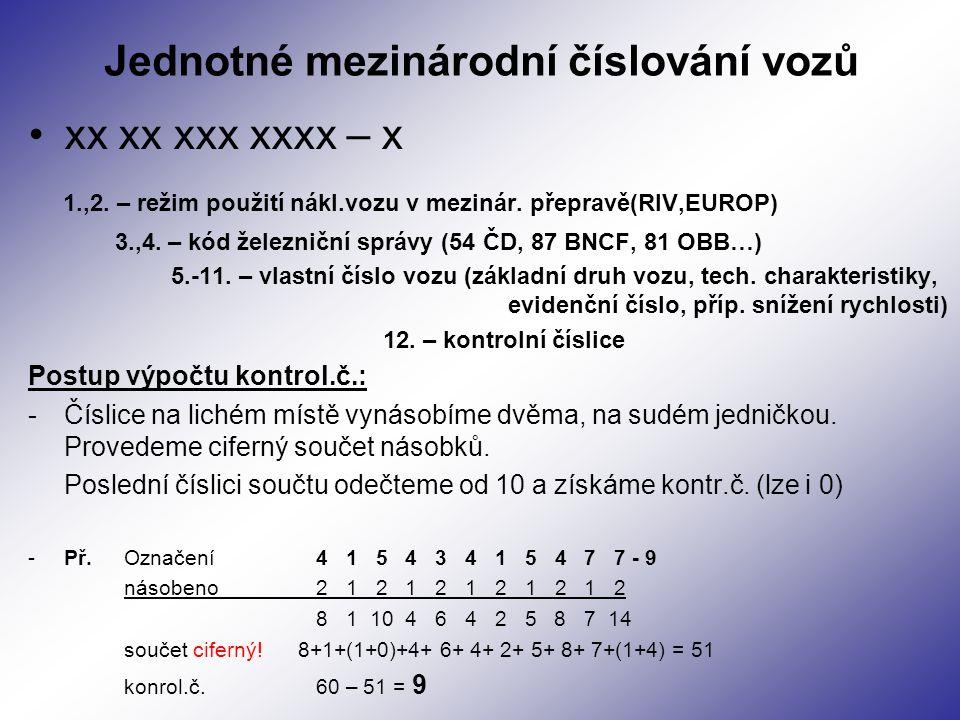 Jednotné mezinárodní číslování vozů xx xx xxx xxxx – x 1.,2. – režim použití nákl.vozu v mezinár. přepravě(RIV,EUROP) 3.,4. – kód železniční správy (5