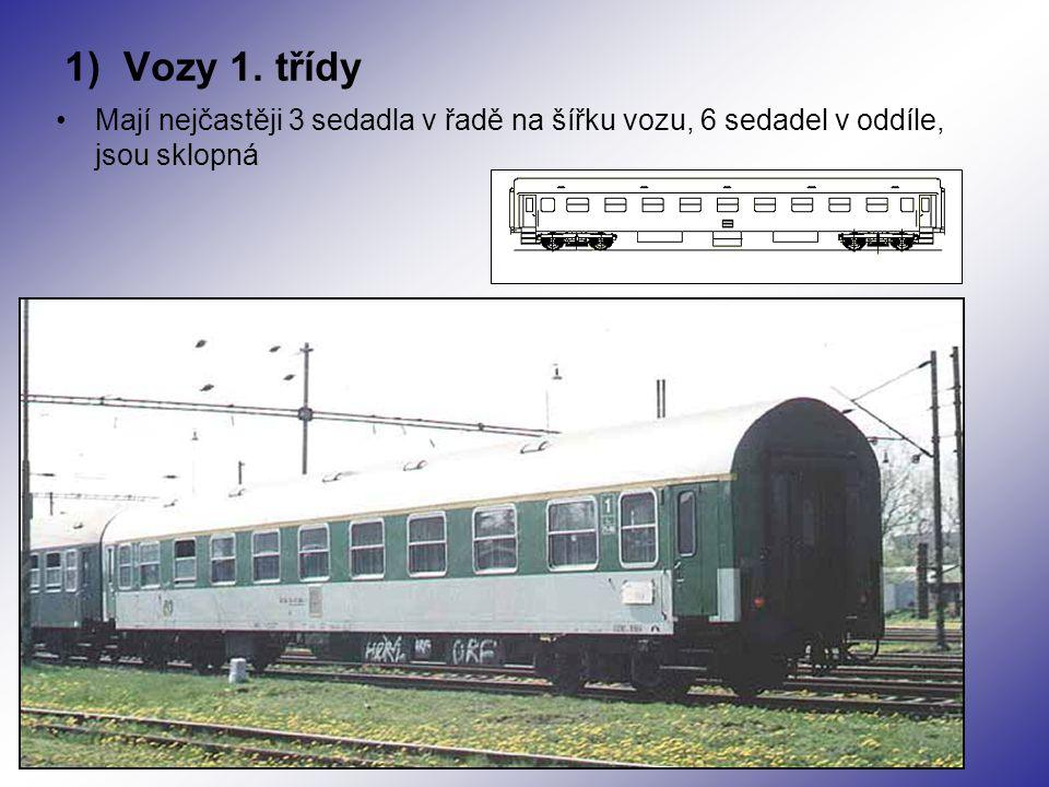 1) Vozy 1. třídy Mají nejčastěji 3 sedadla v řadě na šířku vozu, 6 sedadel v oddíle, jsou sklopná
