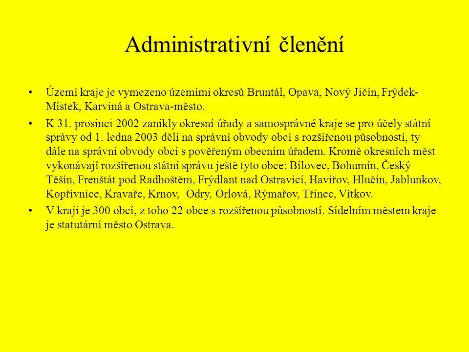 Administrativní členění Území kraje je vymezeno územími okresů Bruntál, Opava, Nový Jičín, Frýdek- Místek, Karviná a Ostrava-město. K 31. prosinci 200