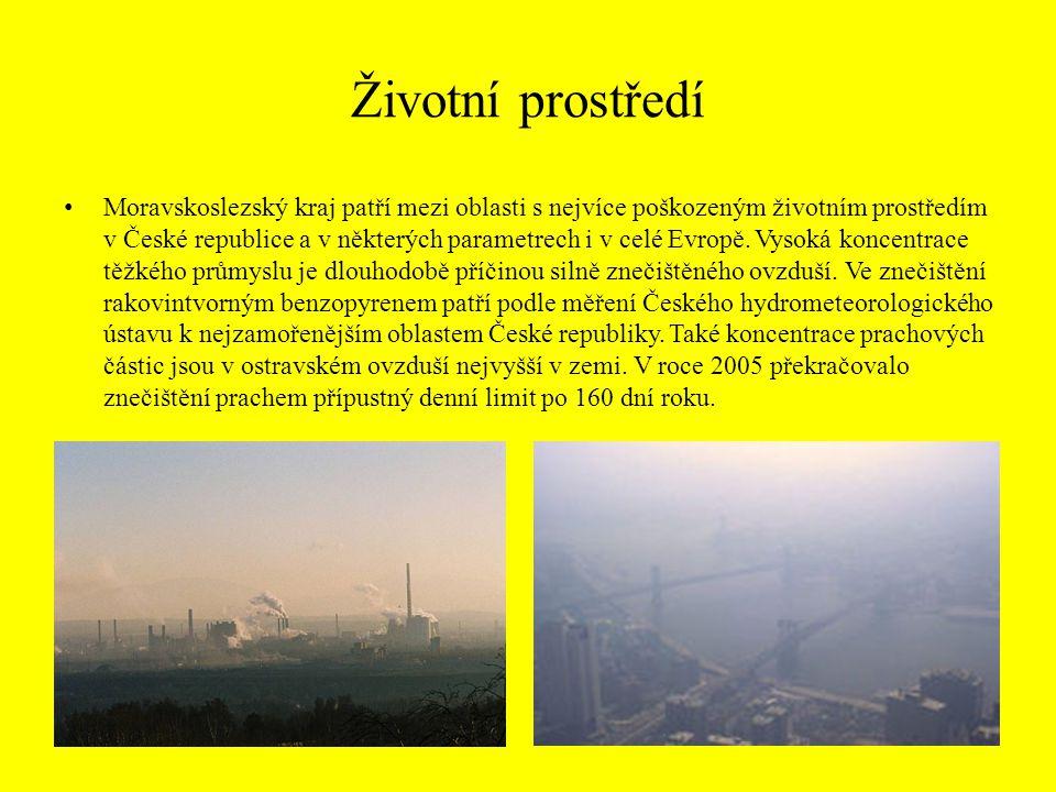 Životní prostředí Moravskoslezský kraj patří mezi oblasti s nejvíce poškozeným životním prostředím v České republice a v některých parametrech i v cel