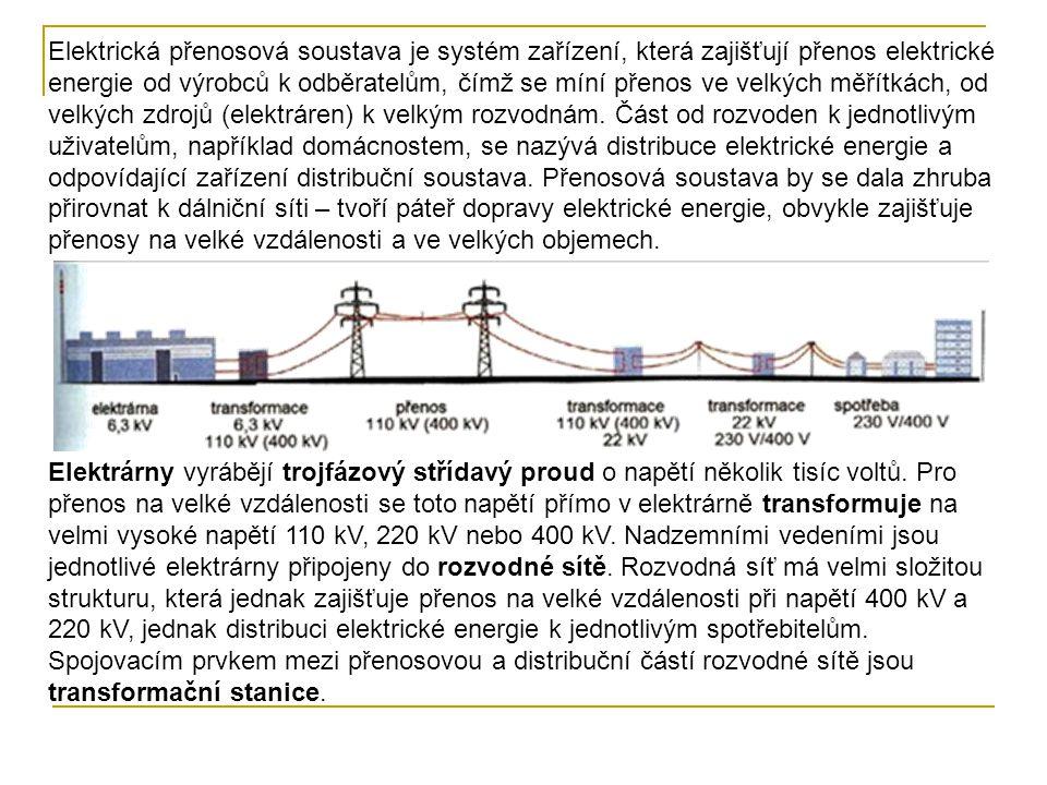 Výkon elektrického proudu se určí ze vztahu Přenosové vedení je z ocelohliníkových lan upevněných na stožárech přes porcelánové izolátory.
