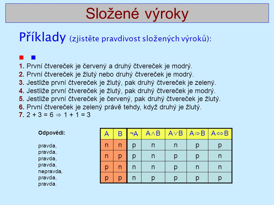Složené výroky Příklady (zjistěte pravdivost složených výroků):  1. První čtvereček je červený a druhý čtvereček je modrý. 2. První čtvereček je žlut