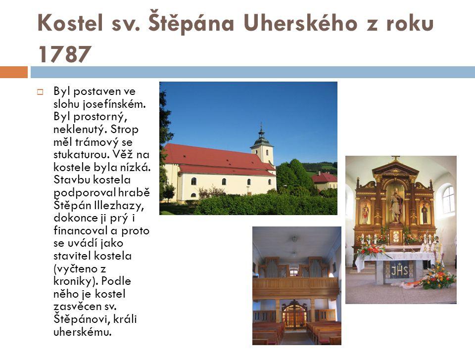 Kostel sv. Štěpána Uherského z roku 1787  Byl postaven ve slohu josefínském. Byl prostorný, neklenutý. Strop měl trámový se stukaturou. Věž na kostel