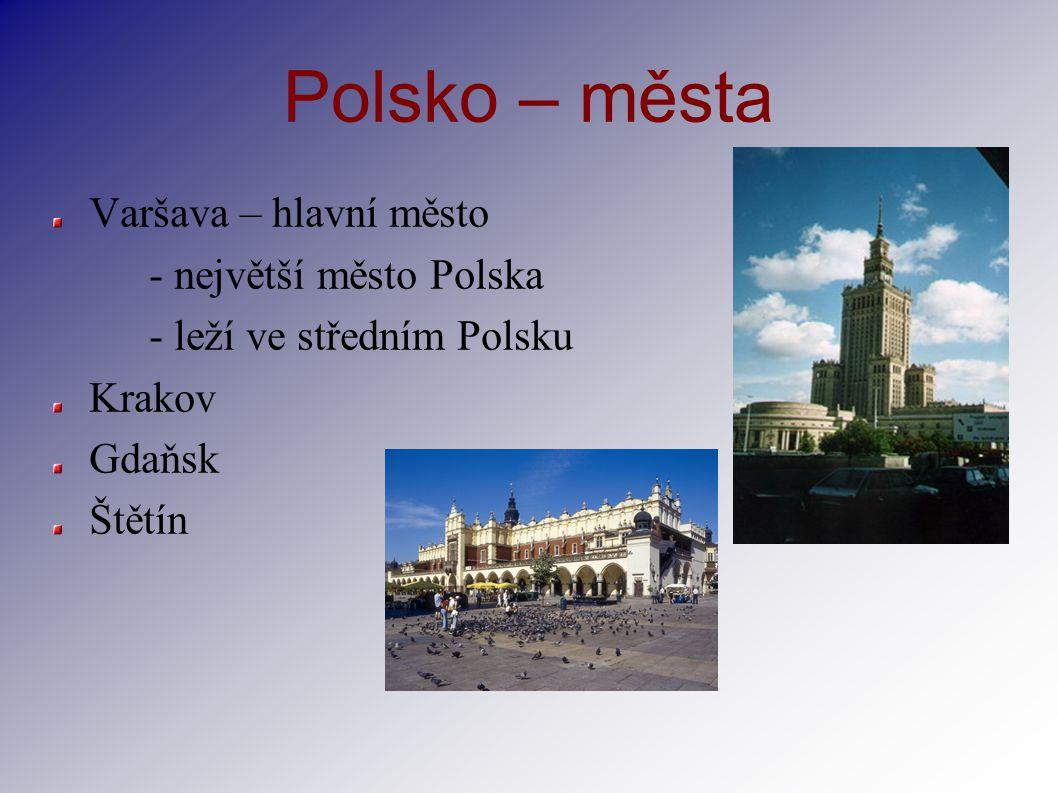Polsko – města Varšava – hlavní město - největší město Polska - leží ve středním Polsku Krakov Gdaňsk Štětín