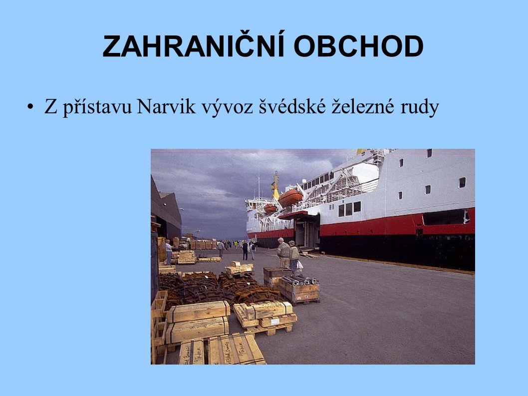 ZAHRANIČNÍ OBCHOD Z přístavu Narvik vývoz švédské železné rudy