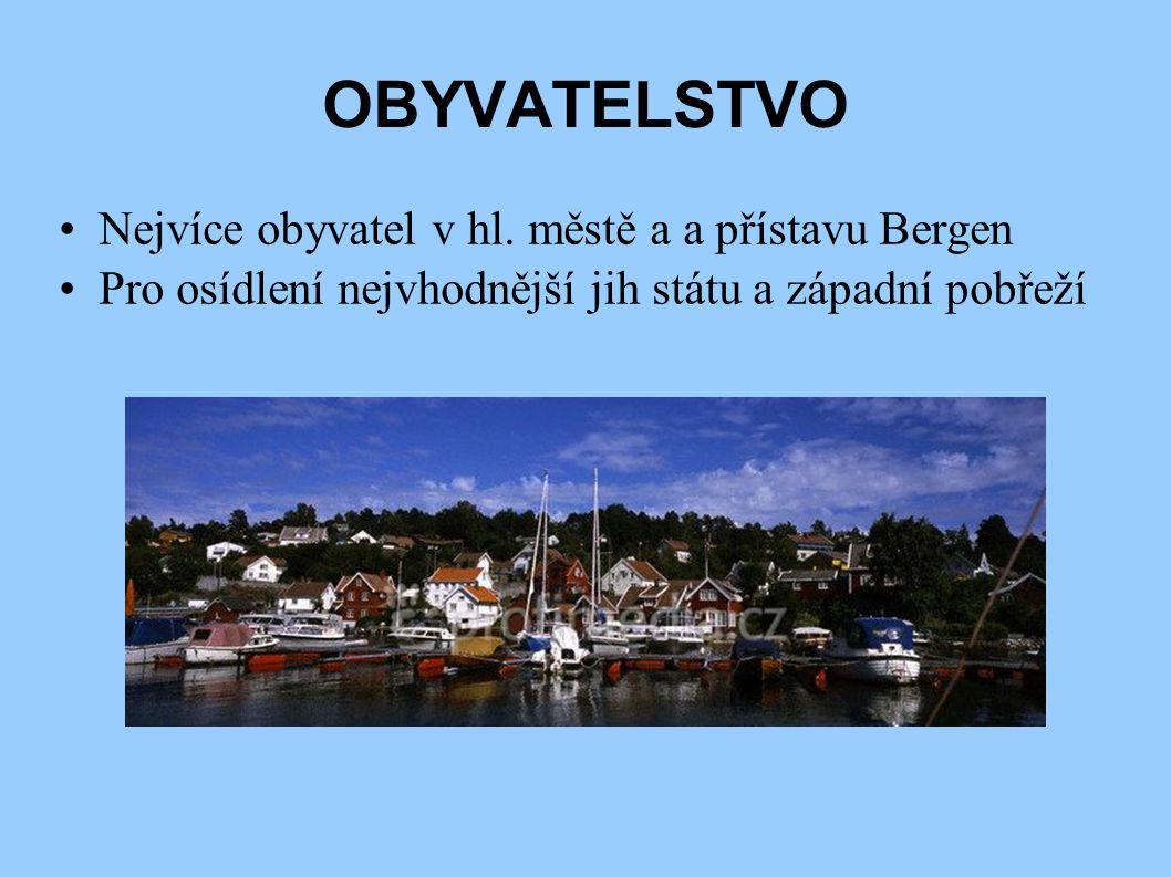 OBYVATELSTVO Nejvíce obyvatel v hl. městě a a přístavu Bergen Pro osídlení nejvhodnější jih státu a západní pobřeží