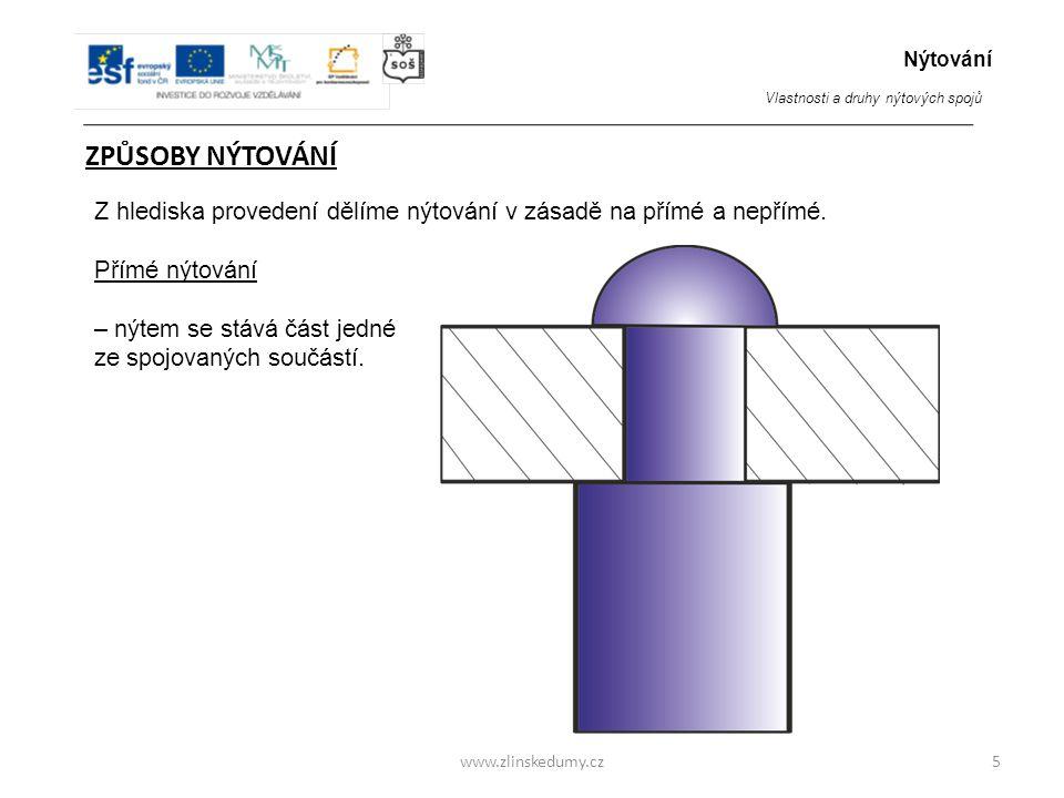 www.zlinskedumy.cz ZPŮSOBY NÝTOVÁNÍ 5 Z hlediska provedení dělíme nýtování v zásadě na přímé a nepřímé.