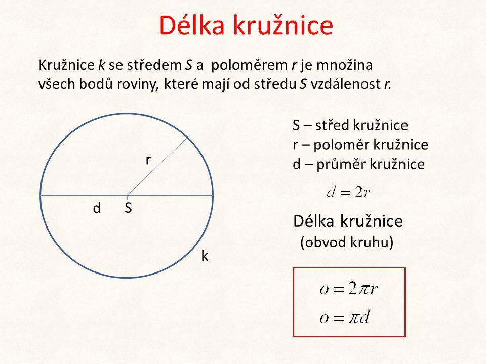 Délka kružnice S r k S – střed kružnice r – poloměr kružnice d – průměr kružnice Délka kružnice (obvod kruhu) d Kružnice k se středem S a poloměrem r