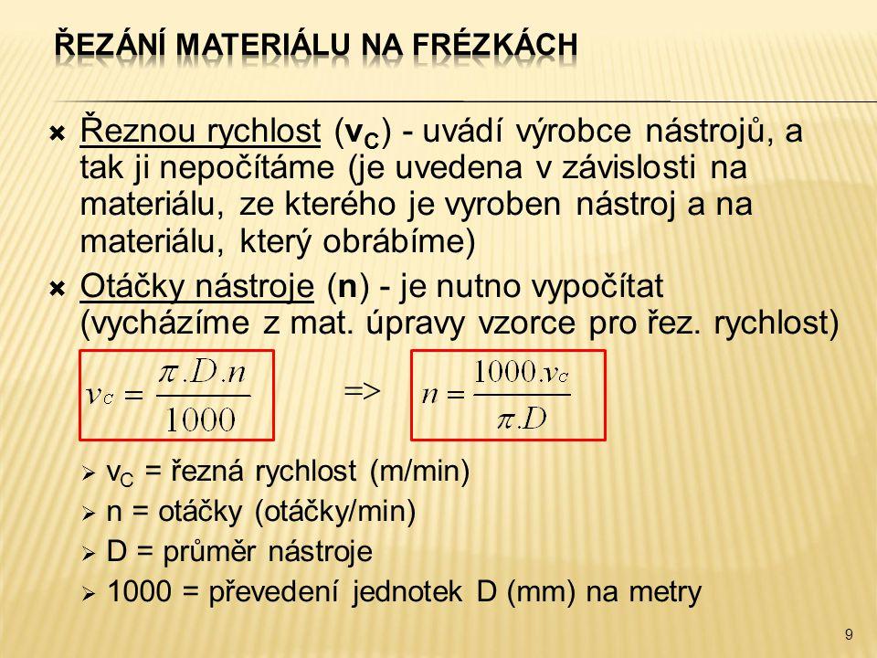  Řeznou rychlost (v C ) - uvádí výrobce nástrojů, a tak ji nepočítáme (je uvedena v závislosti na materiálu, ze kterého je vyroben nástroj a na materiálu, který obrábíme)  Otáčky nástroje (n) - je nutno vypočítat (vycházíme z mat.