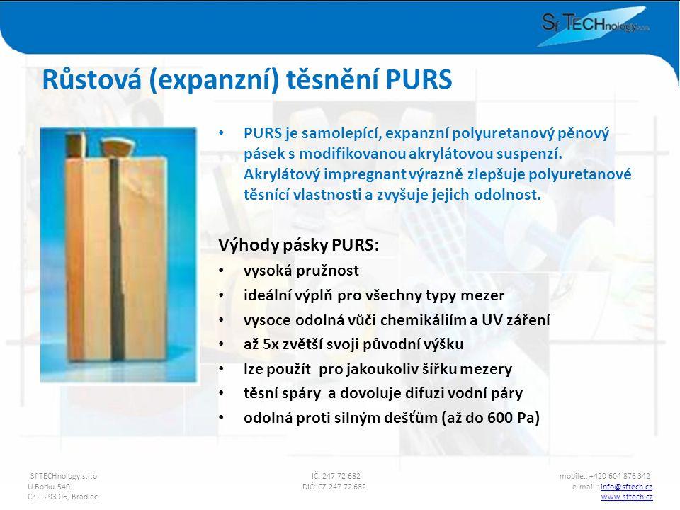PURS je samolepící, expanzní polyuretanový pěnový pásek s modifikovanou akrylátovou suspenzí. Akrylátový impregnant výrazně zlepšuje polyuretanové těs