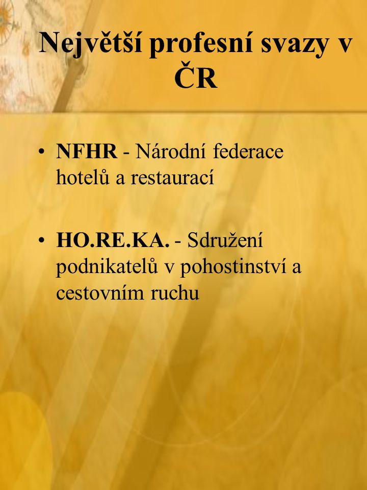 NFHR - Národní federace hotelů a restaurací HO.RE.KA. - Sdružení podnikatelů v pohostinství a cestovním ruchu Největší profesní svazy v ČR