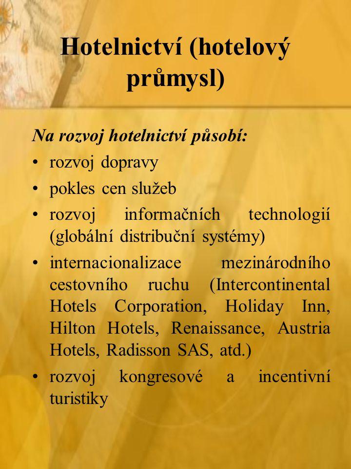 Hotelnictví (hotelový průmysl) Na rozvoj hotelnictví působí: rozvoj dopravy pokles cen služeb rozvoj informačních technologií (globální distribuční sy