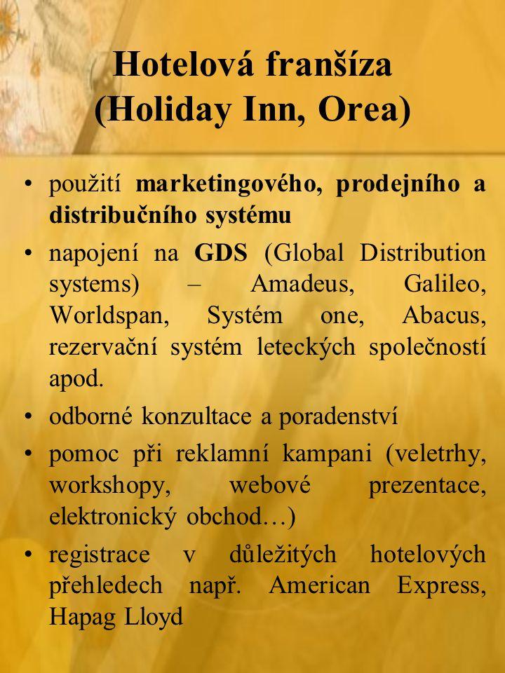 Hotelová franšíza (Holiday Inn, Orea) použití marketingového, prodejního a distribučního systému napojení na GDS (Global Distribution systems) – Amadeus, Galileo, Worldspan, Systém one, Abacus, rezervační systém leteckých společností apod.