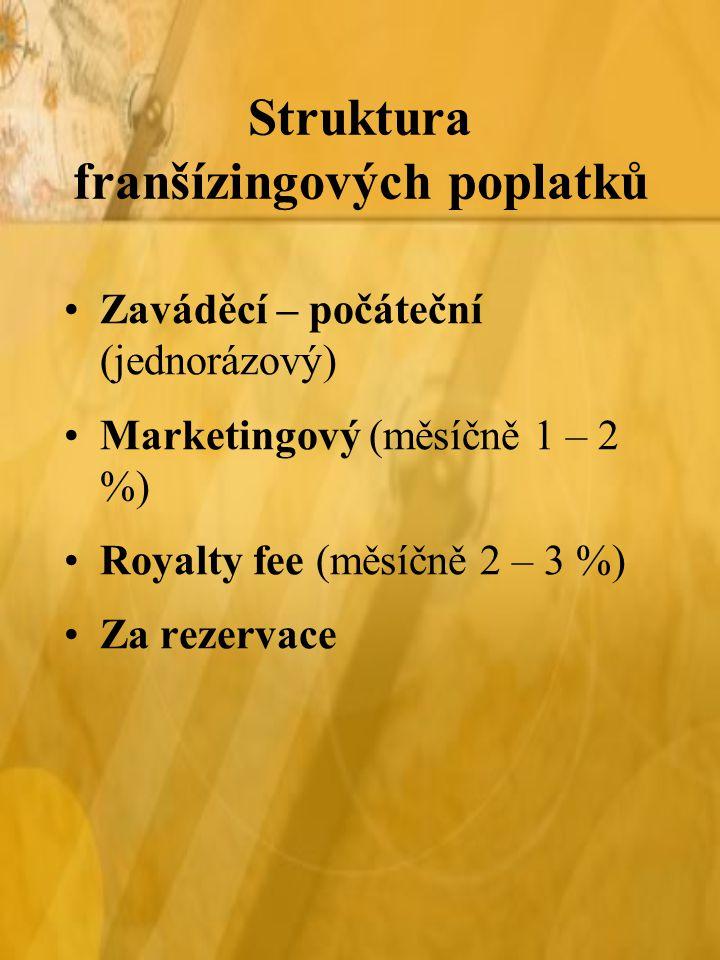 Struktura franšízingových poplatků Zaváděcí – počáteční (jednorázový) Marketingový (měsíčně 1 – 2 %) Royalty fee (měsíčně 2 – 3 %) Za rezervace